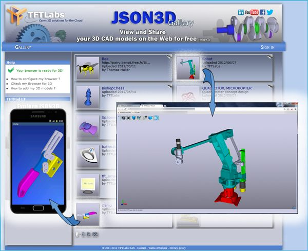 Json3D Gallery : Visualize your 3D Catia, ProE, Solidworks, JT, … for free on browsers and tablet/mobile