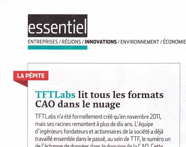 """L'USINE NOUVELLE, N°3304 – """"La pépite : TFTLabs lit tous les formats CAO dans le nuage"""""""